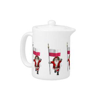 Santa Claus With Flag Of Poland Teapot