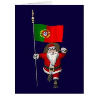 Santa Claus With Flag Of Portugal Card