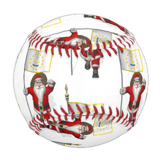 Santa Claus With Flag Of Rhode Island Baseball