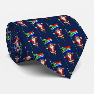 Santa Claus With Flag Of South Africa Neck Tie
