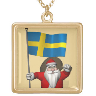 Santa Claus With Flag Of Sweden Gold Plated Necklace