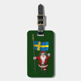 Santa Claus With Flag Of Sweden Luggage Tag