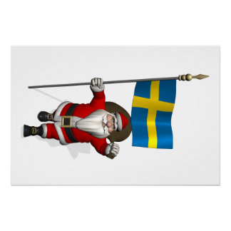 Santa Claus With Flag Of Sweden Perfect Poster