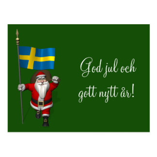 Santa Claus With Flag Of Sweden Post Card