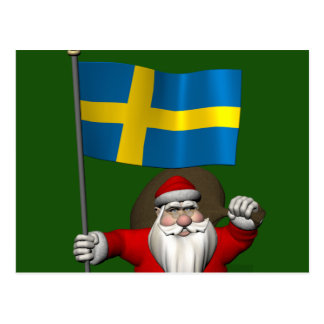 Santa Claus With Flag Of Sweden Post Cards