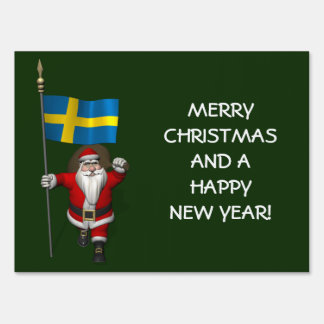 Santa Claus With Flag Of Sweden Signs