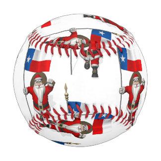 Santa Claus With Flag Of Texas Baseball