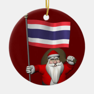 Santa Claus With Flag Of Thailand Ceramic Ornament
