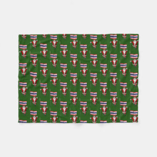 Santa Claus With Flag Of Thailand Fleece Blanket