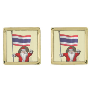 Santa Claus With Flag Of Thailand Gold Cufflinks