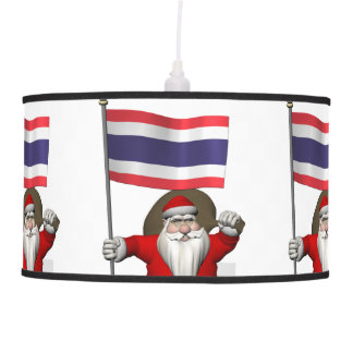 Santa Claus With Flag Of Thailand Hanging Lamp