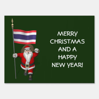 Santa Claus With Flag Of Thailand Lawn Sign