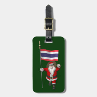 Santa Claus With Flag Of Thailand Luggage Tag