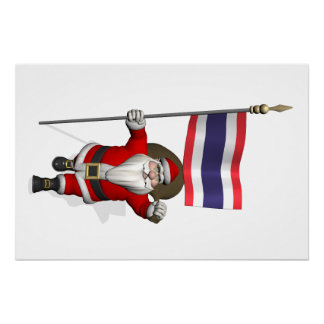 Santa Claus With Flag Of Thailand Poster