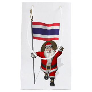 Santa Claus With Flag Of Thailand Small Gift Bag
