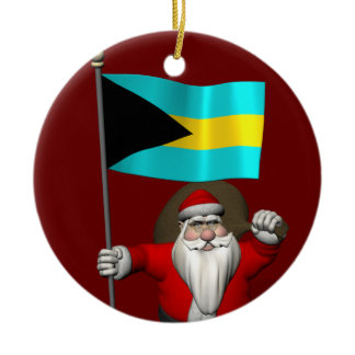 Santa Claus With Flag Of The Bahamas Ceramic Ornament