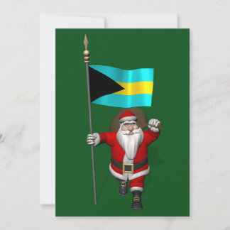 Santa Claus With Flag Of The Bahamas Holiday Card
