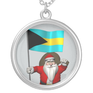 Santa Claus With Flag Of The Bahamas Silver Plated Necklace
