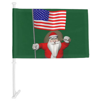 Santa Claus With Flag Of The USA