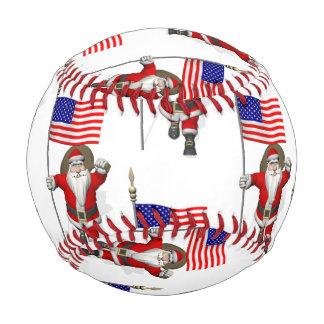 Santa Claus With Flag Of The USA Baseball