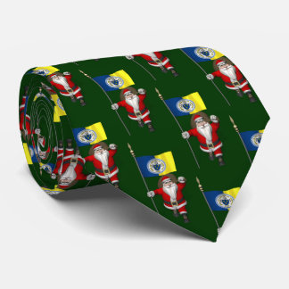 Santa Claus With Flag Of Trenton NJ Neck Tie