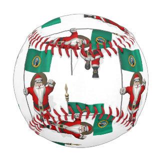 Santa Claus With Flag Of  Washington Baseball