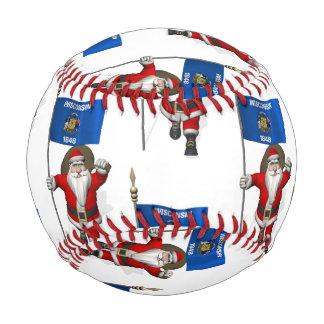 Santa Claus With Flag Of Wisconsin Baseball