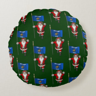 Santa Claus With Flag Of Wisconsin Round Pillow