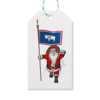 Santa Claus With Flag Of Wyoming Gift Tags