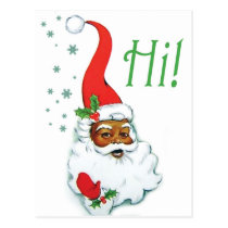 Santa Claus with funny hat says hi vintage holiday Postcard