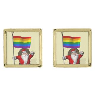 Santa Claus With Gay Pride Rainbow Flag Gold Cufflinks