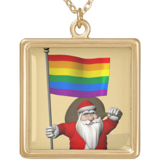 Santa Claus With Gay Pride Rainbow Flag Gold Plated Necklace