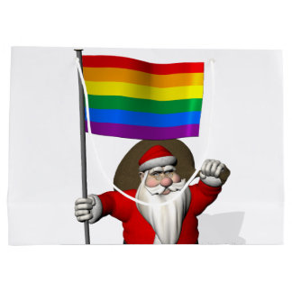 Santa Claus With Gay Pride Rainbow Flag Large Gift Bag