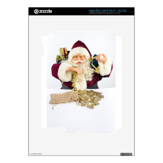 Santa Claus with gifts and money coins Decals For iPad 3