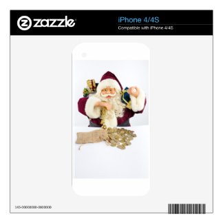 Santa Claus with gifts and money coins Skin For The iPhone 4