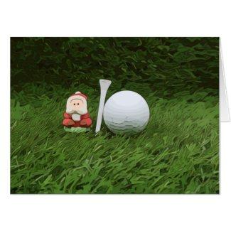 Santa Claus with golf ball and tee Christmas Card
