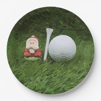Santa Claus with Golf ball and Tee Paper Plate