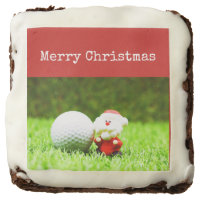 Santa Claus with golf ball Merry Christmas golfer Brownie