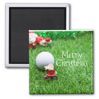 Santa Claus with golf ball Merry Christmas golfer Magnet