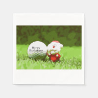 Santa Claus with golf ball Merry Christmas golfer Napkin