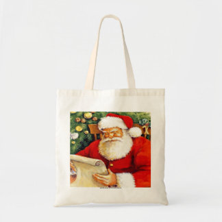 SANTA CLAUS WITH HIS LIST BUDGET TOTE BAG