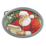 SANTA CLAUS WITH HIS LIST BELT BUCKLES