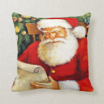 SANTA CLAUS WITH HIS LIST THROW PILLOW