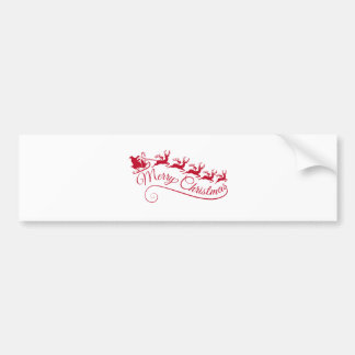 Santa Claus with his sleigh and reindeer Bumper Sticker