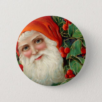 Santa Claus with Holly Christmas Pinback Button