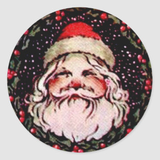 Santa Claus with Holly Wreath Sticker