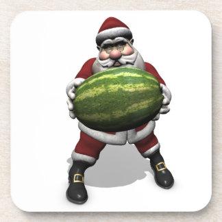 Santa Claus With Huge Watermelon Beverage Coaster
