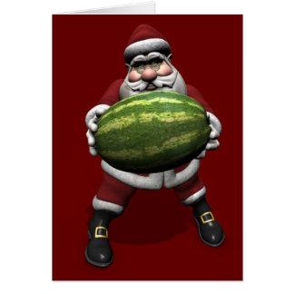 Santa Claus With Huge Watermelon Card