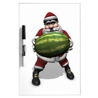 Santa Claus With Huge Watermelon Dry Erase Board
