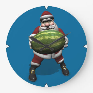 Santa Claus With Huge Watermelon Large Clock